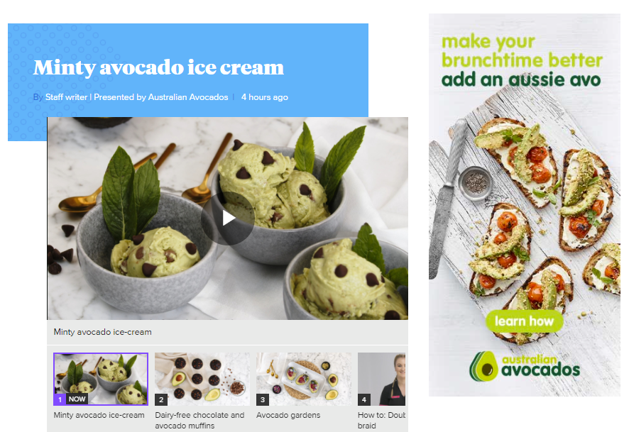 Click here for a video/article from 9Honey - minty avocado ice cream