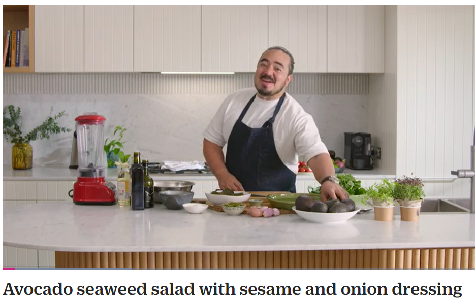 Adam Liaw prepares an avocado seaweed salad for Australian Avocados